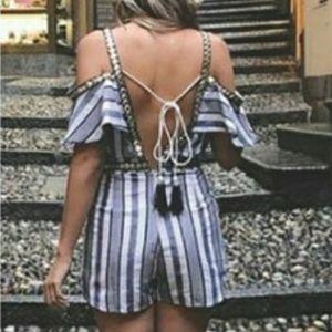 Nautical Girl Striped Romper